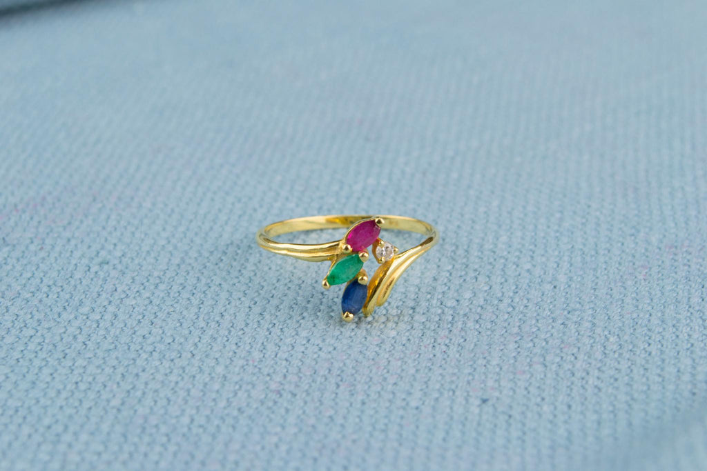 18ct Gold Ring with Diamond, Sapphire, Emerald and Ruby