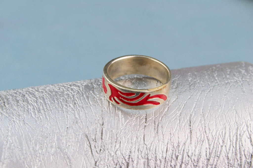 Ring In Sterling Silver Red Enamel Band