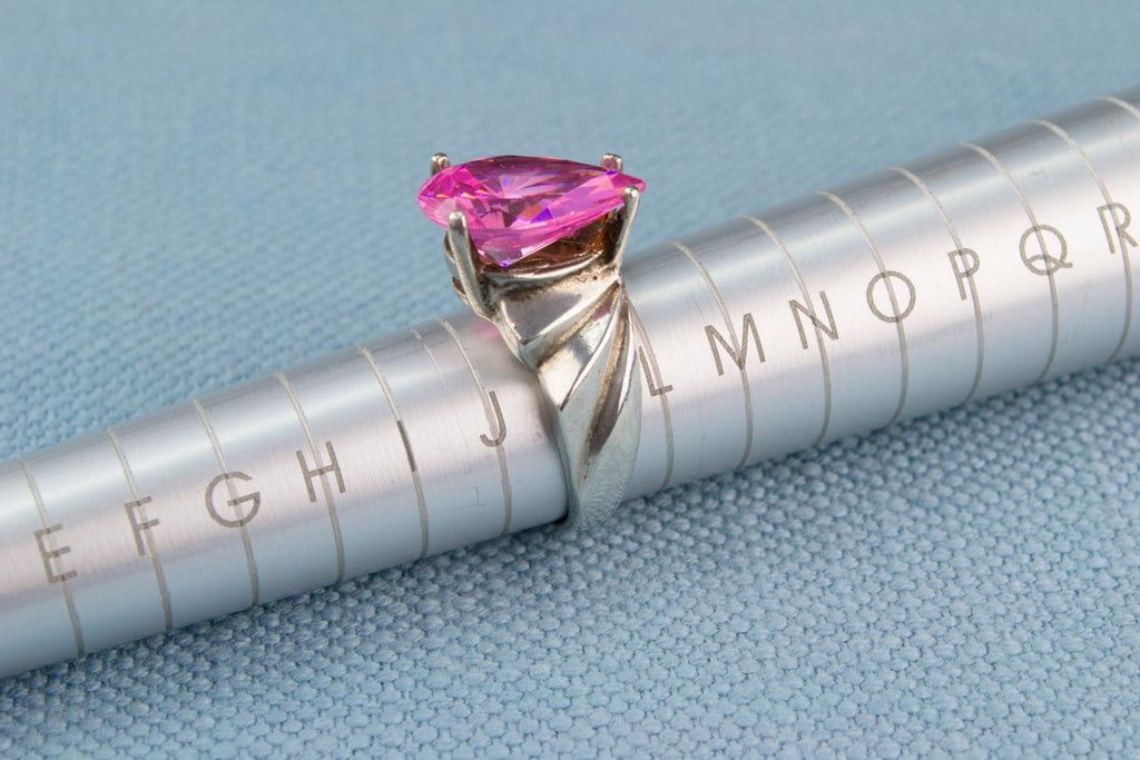 Pear Cut Pink Ring In Sterling Silver