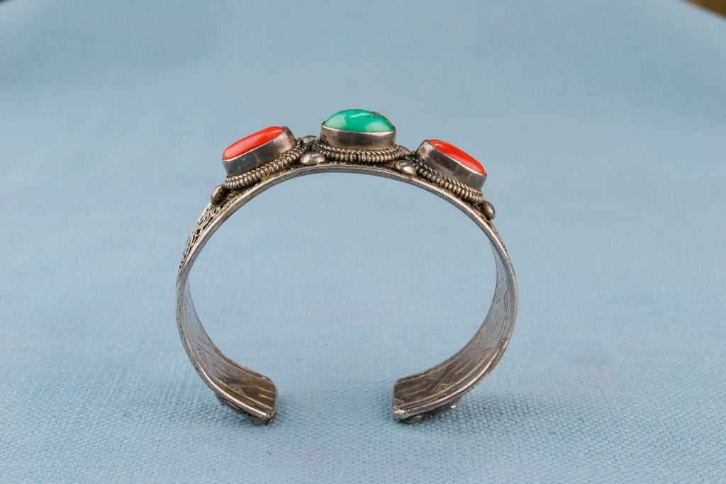 Bracelet in Silver Coral and Turquoise