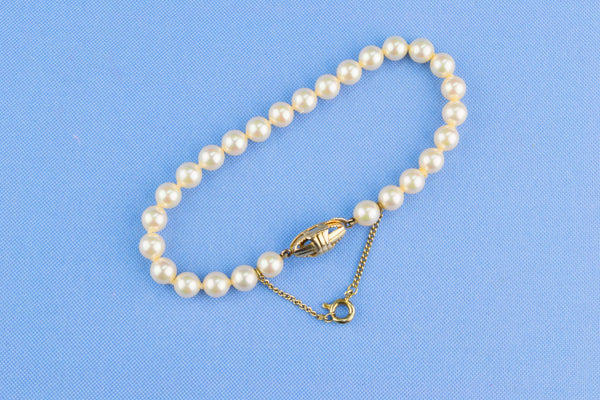 Small Bracelet Silver and Imitation Pearls