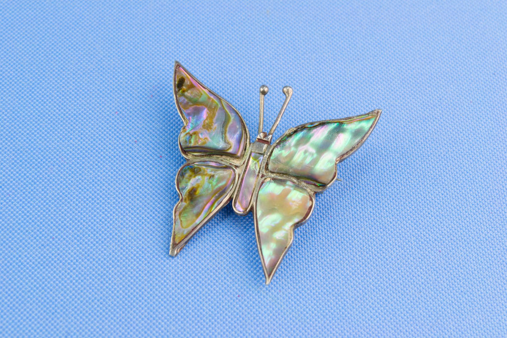 Butterfly Brooch in Sterling Silver and Mother of Pearl