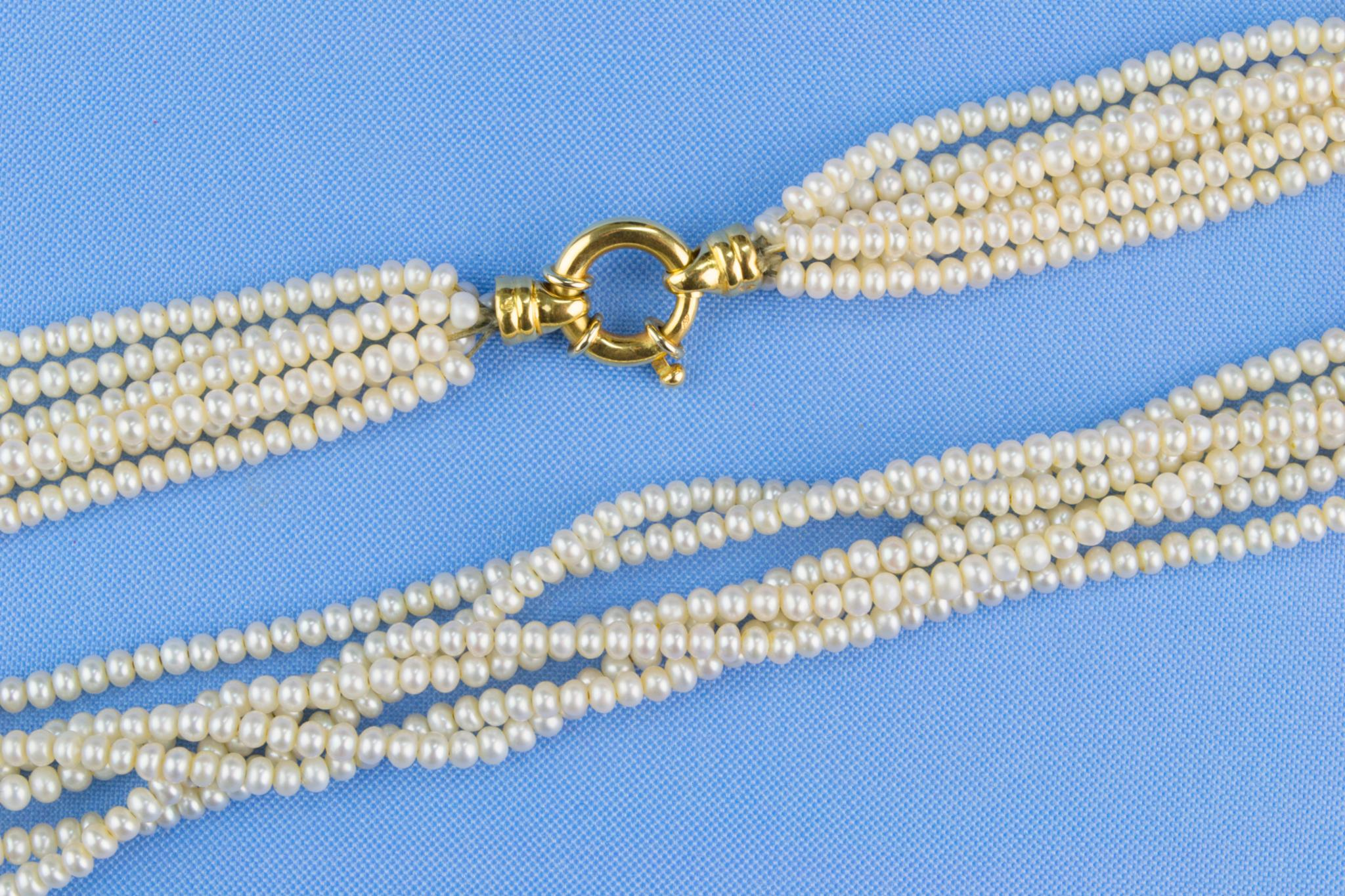 6 String Necklace 18ct Gold and Fresh Water Cultured Pearls