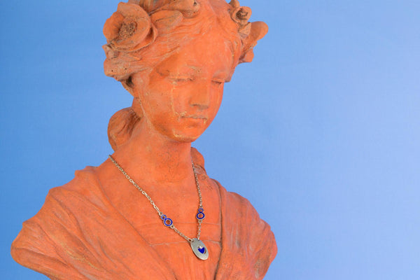 Silver and Blue Enamel Necklace with Heart Pendant