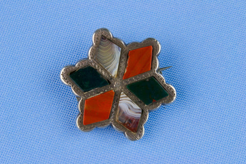 Agate Star Brooch in Sterling Silver, Scottish 19th Century