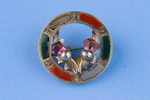 Scottish Thistles Agate & Amethyst Silver Brooch 19th Century