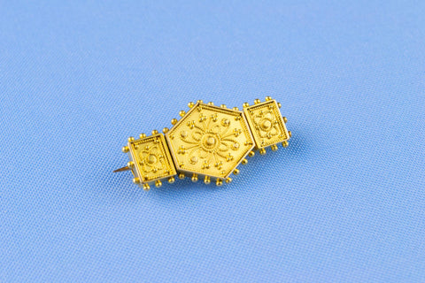 Gold Plated Gothic Revival Brooch, English 19th Century