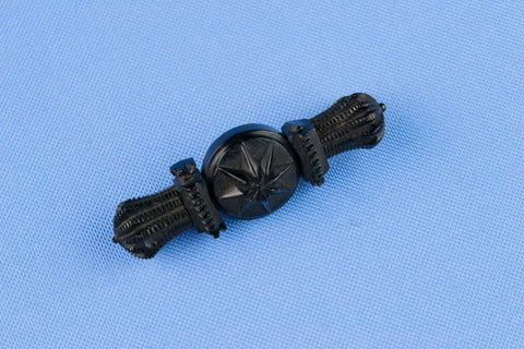 Brooch in Black Carved Jet, English Early 1900s
