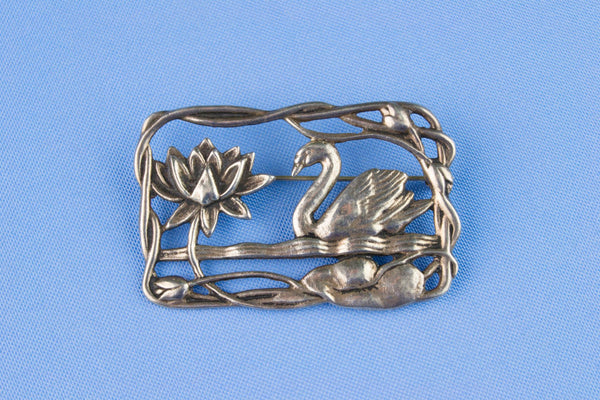 Art Nouveau Silver Brooch, English Early 1900s
