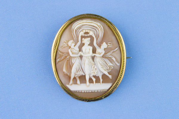 Carved Shell Cameo Brooch, English 19th Century