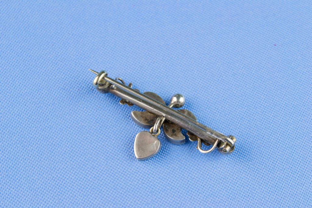 Sterling Silver and Pale Agate Bar Brooch, English Circa 1900