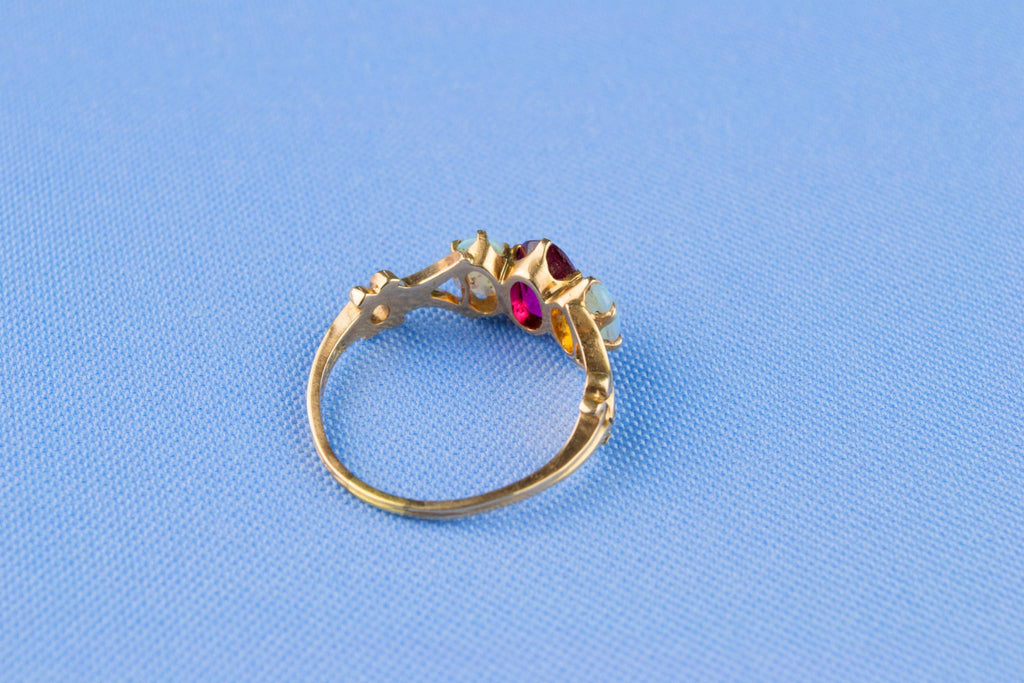 14ct Gold Opal and Rubellite Ring