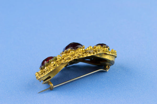 Victorian Gold Brooch with Red Paste Stones, English 19th Century