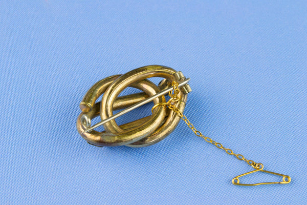 Victorian Gold Plated Knot Brooch, English 19th Century
