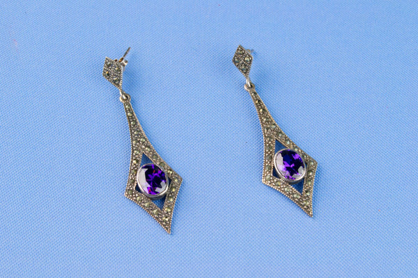 Amethyst and Marcasite Earrings in Sterling Silver