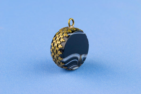 Victorian Banded Agate Pocket Watch Fob, English 19th Century
