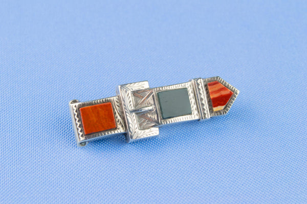 Sterling Silver and Agate Brooch, English 1912