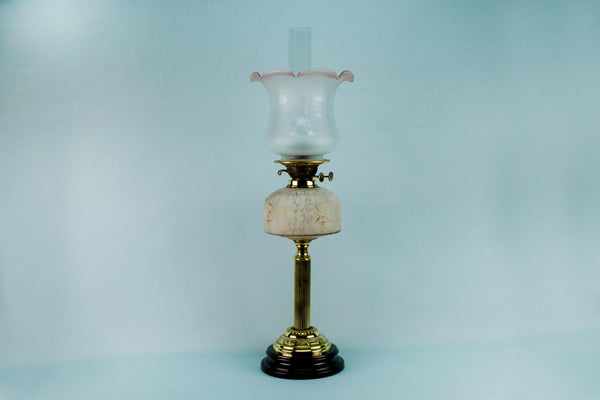 Tall Glass and Brass Oil Lamp, English 19th Century