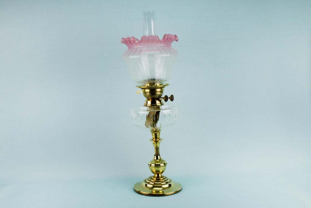 Vianne Pink Glass Oil Lamp, French Circa 1900