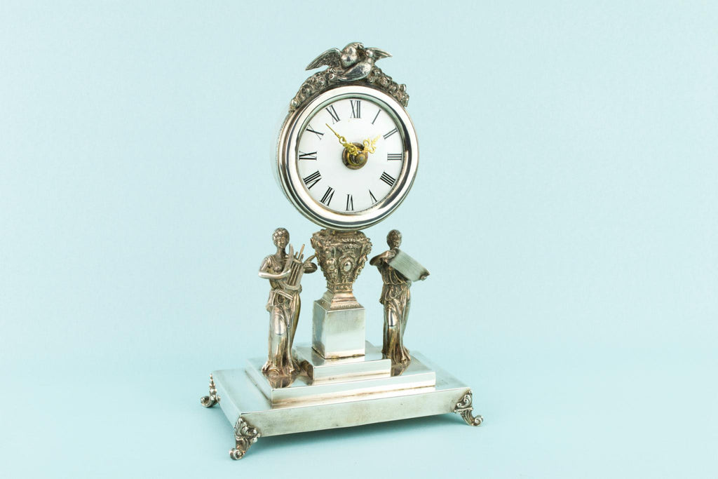 Silver Clock Antique circa 1900