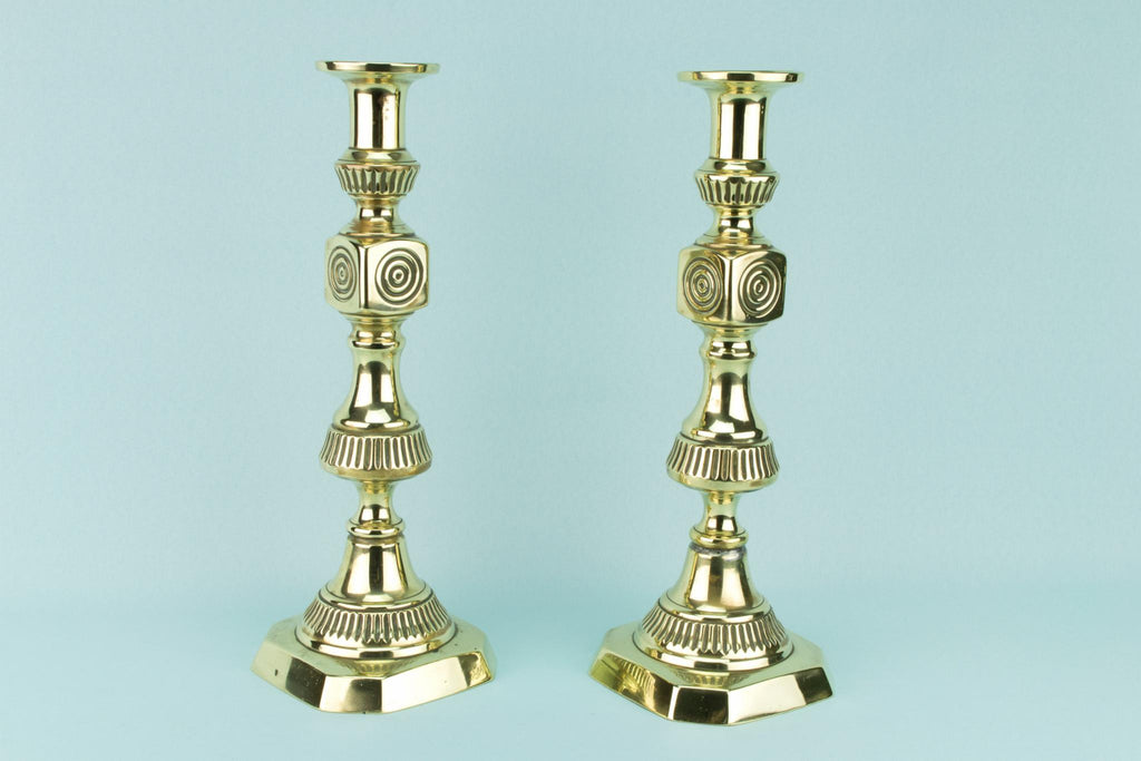 Pair Of Polished Brass Tall Candlestick, English 19th Century