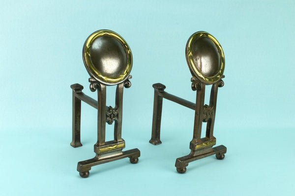 Steel and Brass Fire Andirons, English 19th Century