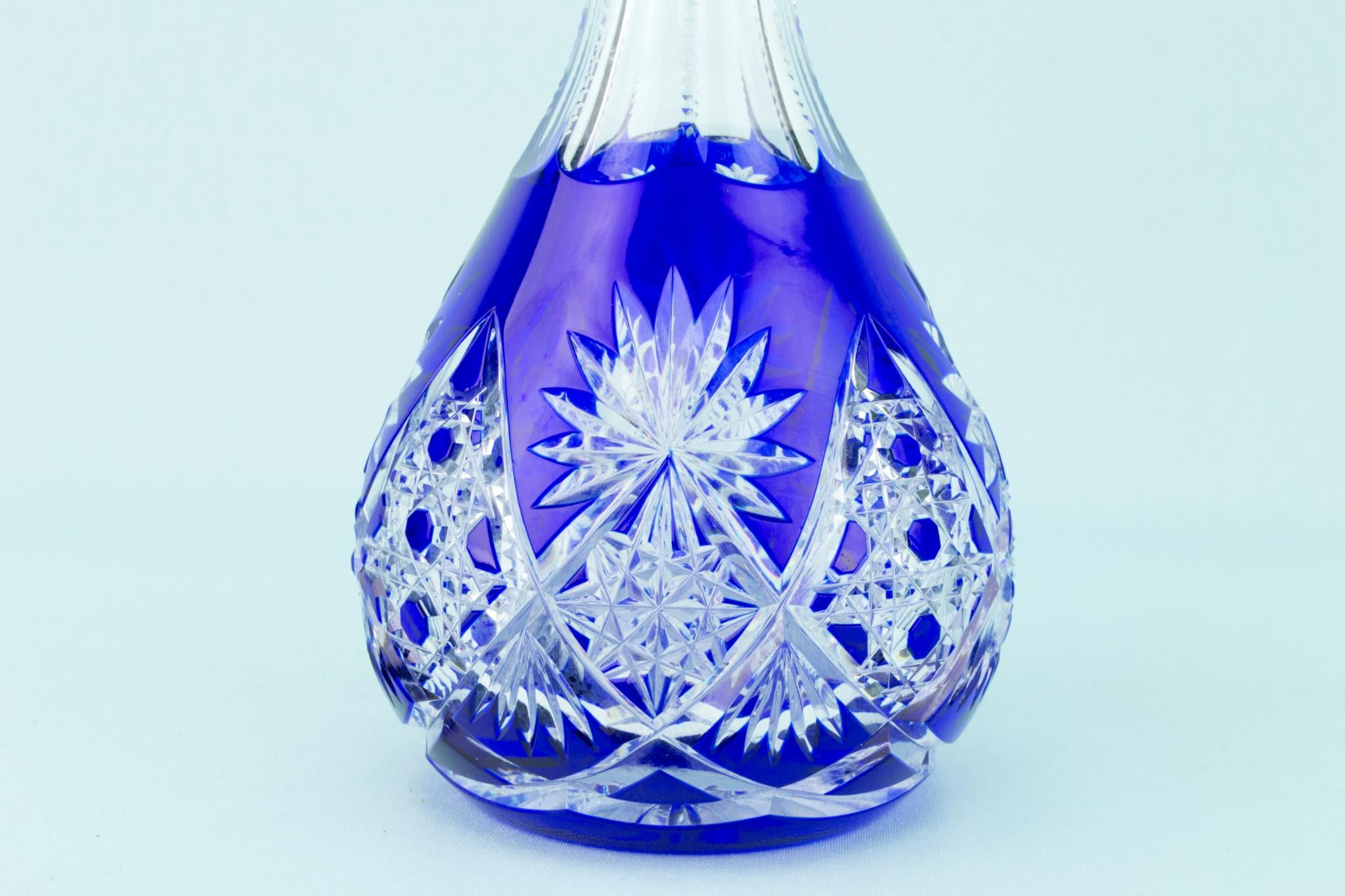 Blue Cut Glass Decanter, English 1930s