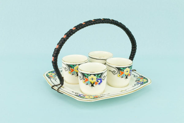 Art Deco Egg Cups on Dish, English 1930s