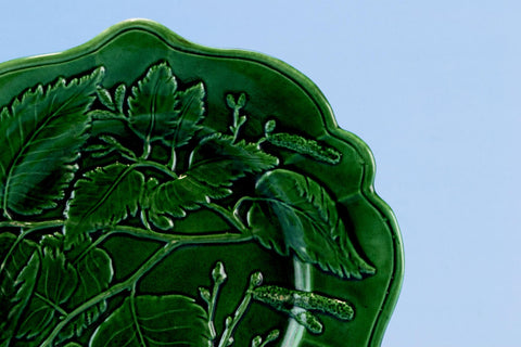 Green Majolica Serving Dish, English 19th Century