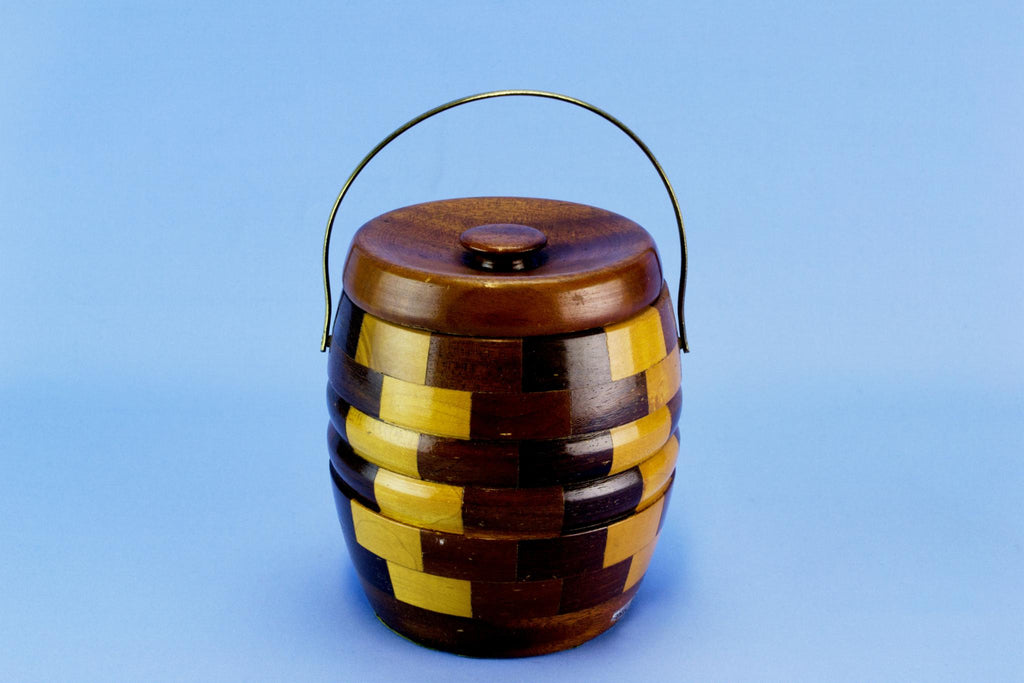 Ice Bucket Barrel in Chequered Wood, English 1950s