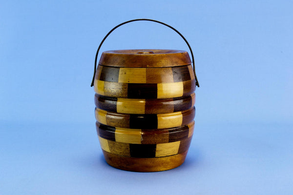 Chequered Wood Ice Bucket, English 1950s