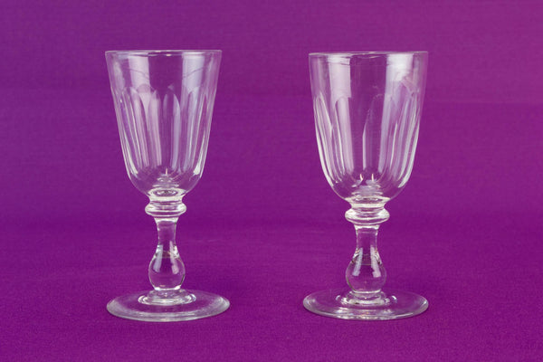 Two Sherry Schooners in Cut Glass, English Circa 1900
