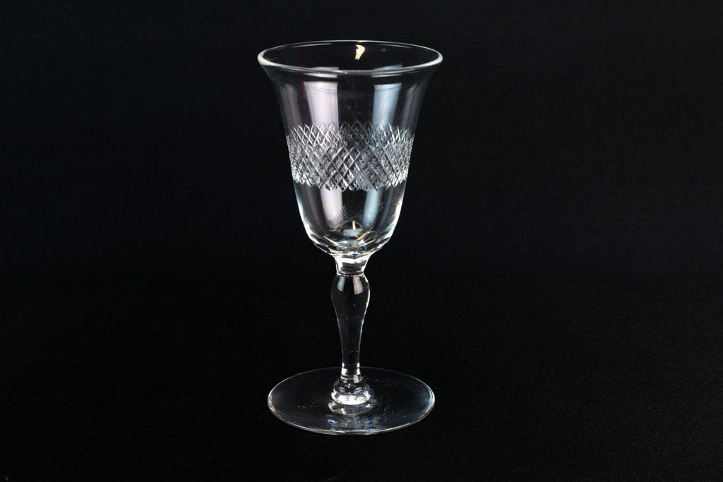 4 Port or Sherry Stem Glasses, English 1930s