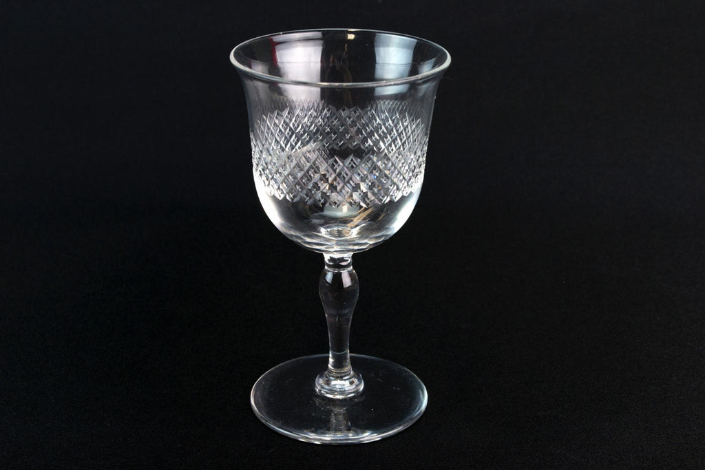 3 Dessert Wine Cut Glasses, English 1930s