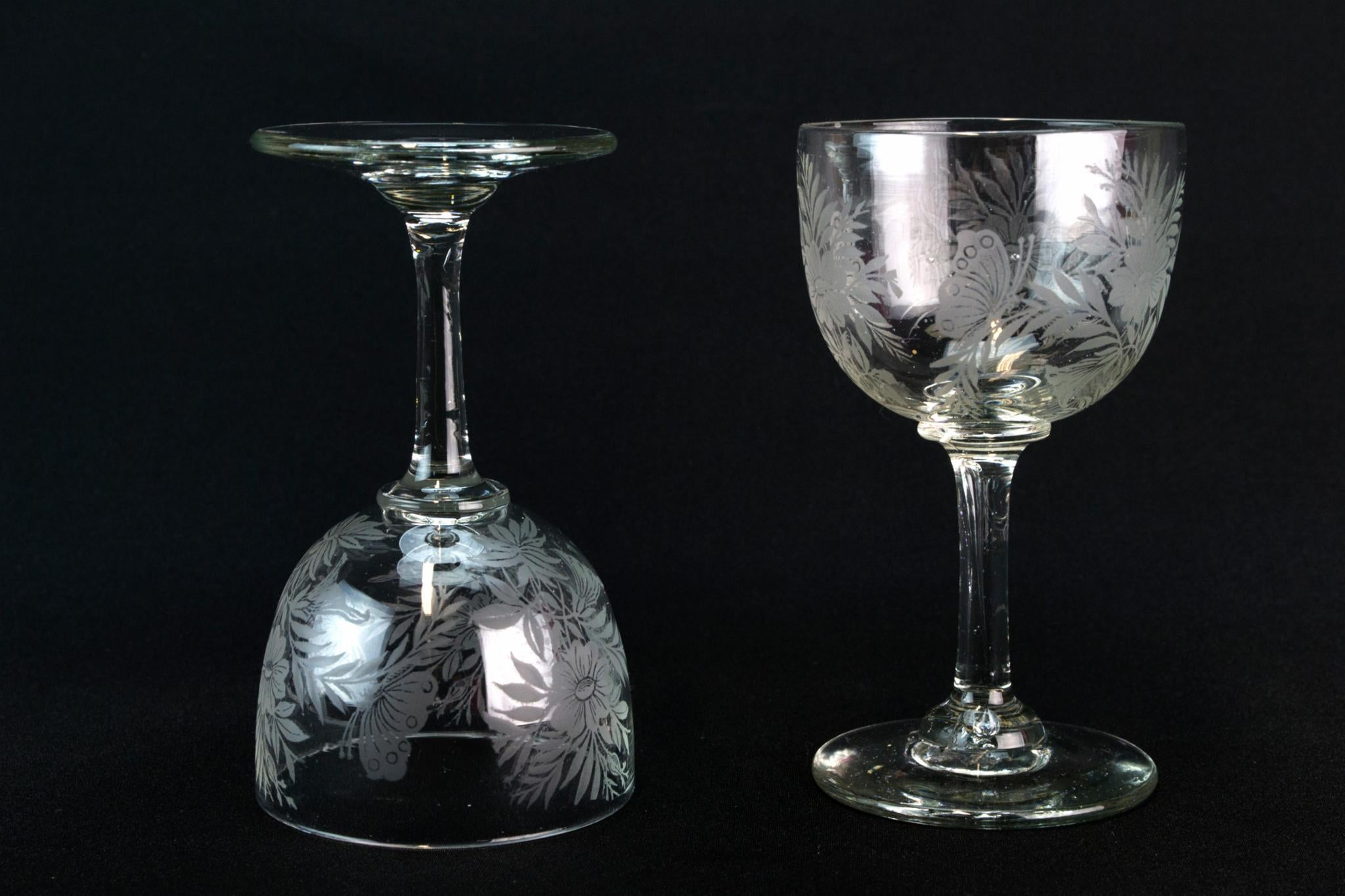 2 Desert Wine Glasses with Butterflies Decor, English Circa 1900