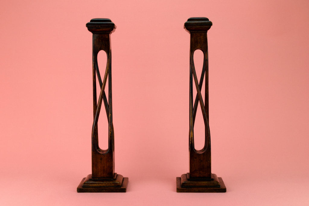 Scottish Arts & Crafts Carved Oak Candlesticks Circa 1900