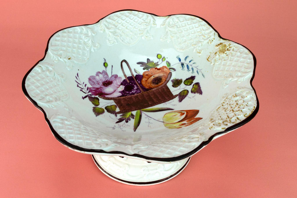 Stem Bowl with Painted Flowers, English Circa 1830