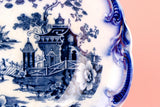 Flow Blue Serving Bowl, English Victorian 1890s
