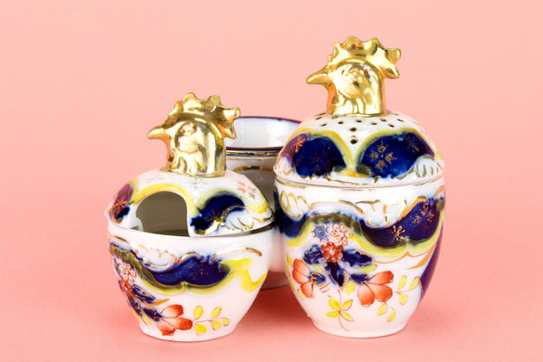 Chicken Shaped Condiment Set in Flow Blue Porcelain 19th Century