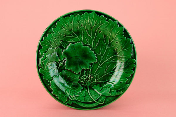 6 Green Majolica Dessert Plates, English 19th Century