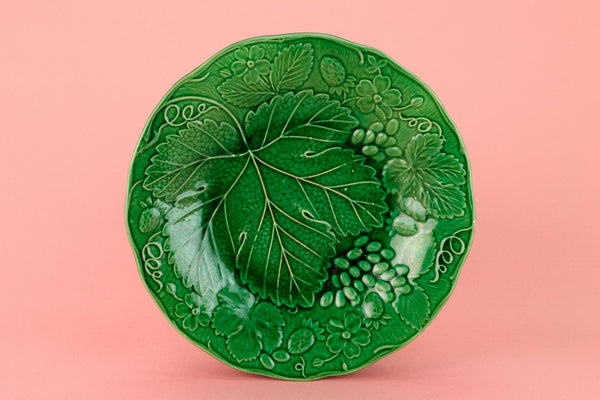 Green Majolica Serving Dish, English Victorian 19th Century
