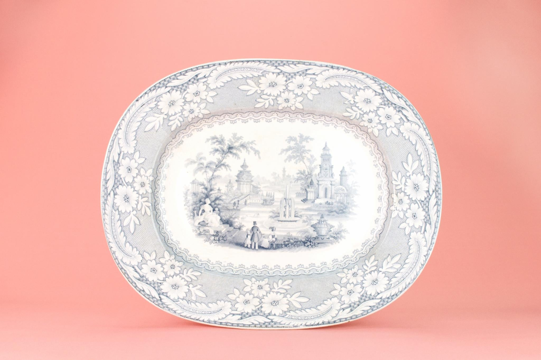 Blue and White Large Serving Platter, English 1870s