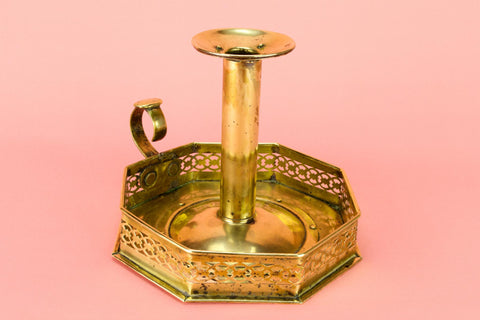 Arts & Crafts Candlestick in Brass, English Circa 1900