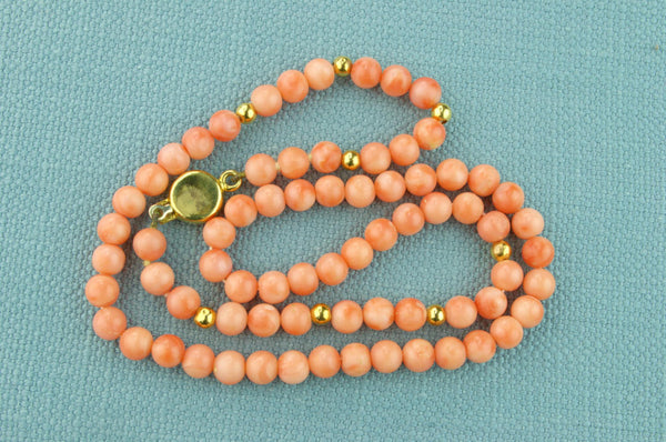 18ct Gold and Coral Beads Necklace Italian