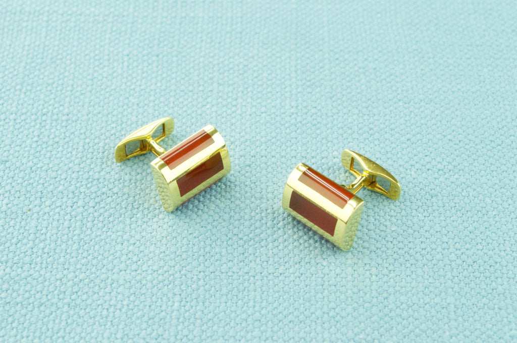 Red Carnelian Cufflinks in 18ct Gold