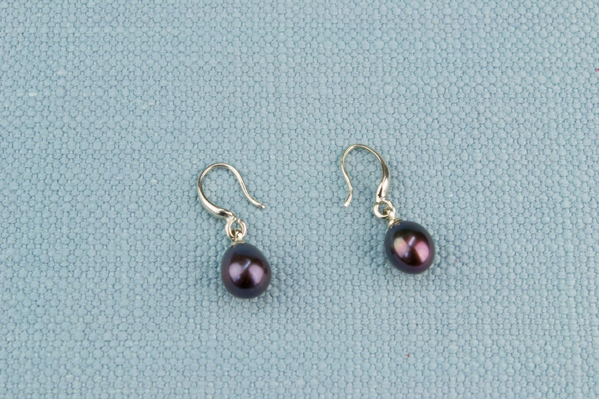 Black Fresh Water Pearl and Steel Earrings