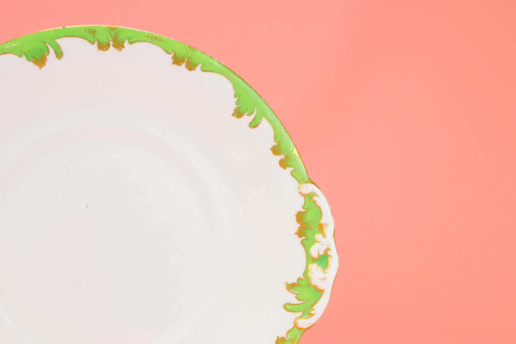 Bone China Cake Plate in Green and Gold, English 1830s