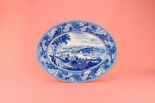 Historic America Platter in Blue and White by Johnson Brothers