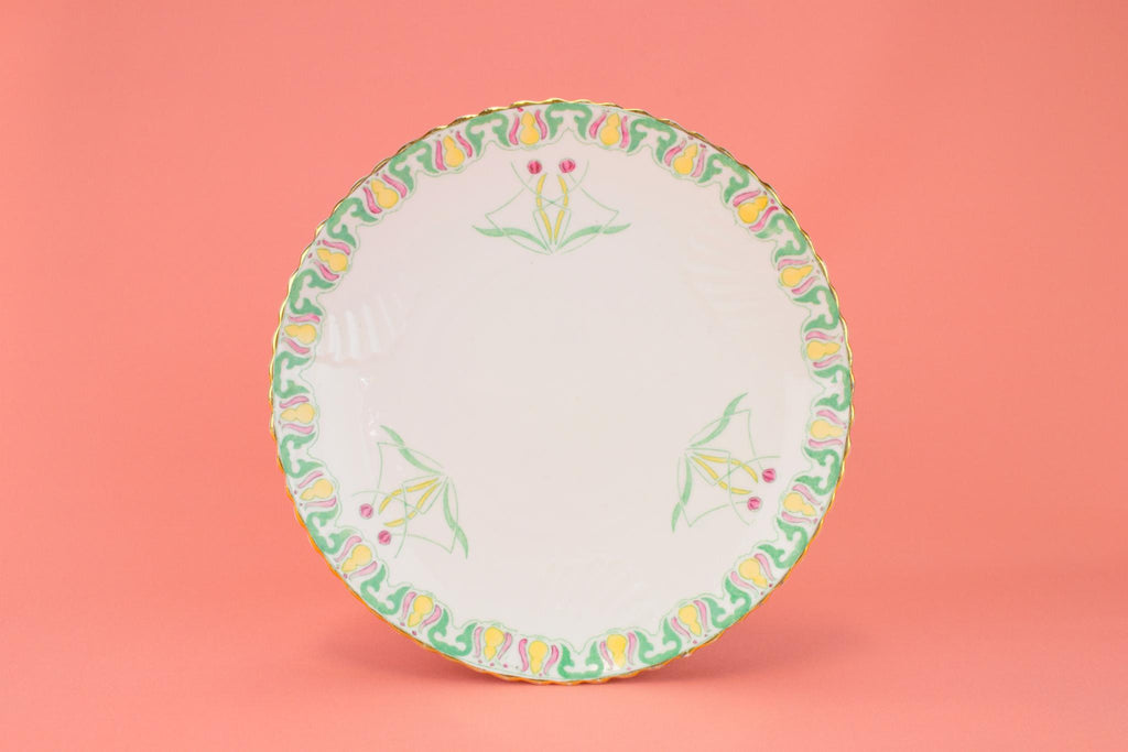Dessert Plate in Bone China, English Art Nouveau 1890s