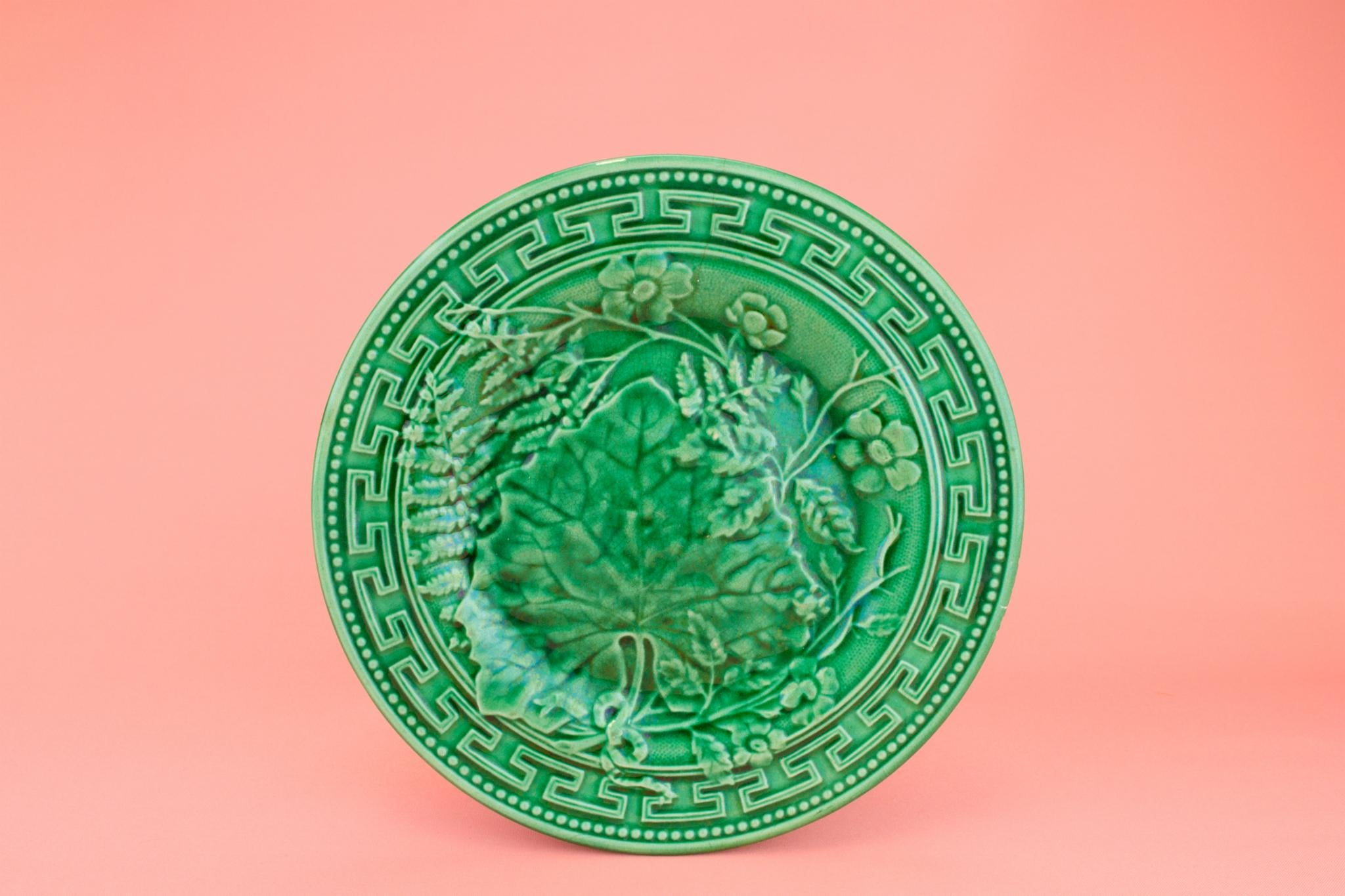 Green Majolica Small Plate, English Late 19th Century